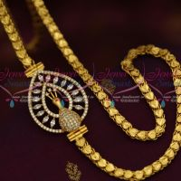 5 MM Gold Plated Chain 24 Inches AD White Mugappu South Indian Imitation Jewellery Designs Online