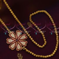 3.5 MM Gold Plated Dhasavadar Chain 24 Inches AD Ruby Mugappu South Indian Imitation Jewellery Designs Online