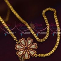 4 MM Gold Plated Fancy Chain 24 Inches AD Ruby Mugappu South Indian Imitation Jewellery Designs Online