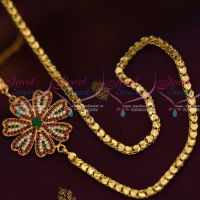 4 MM Gold Plated Fancy Chain 24 Inches AD Ruby Green Mugappu South Indian Imitation Jewellery Designs Online