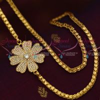4 MM Gold Plated Fancy Chain 24 Inches AD White Mugappu South Indian Imitation Jewellery Designs Online