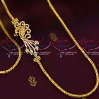 3 MM Gold Plated Jewellery Roll Kodi Chain Peacock AD White Mugappu South Indian Designs Online