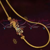 3 MM Gold Plated Jewellery Roll Kodi Chain Peacock AD Ruby Mugappu South Indian Designs Online