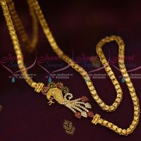 4 MM Gold Plated Jewellery Fancy Chain Peacock AD Multi Mugappu South Indian Designs Online