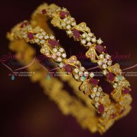 Floral Traditional AD Ruby White Fancy Design Bangles Latest Fashion Jewellery