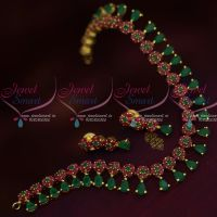 American Diamond Jewellery Floral Ruby Emerald Stones Traditional Short Necklace