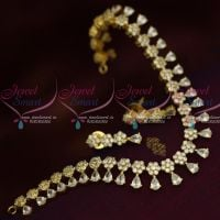 American Diamond Jewellery Floral White Sparkling Stones Traditional Short Necklace