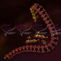 American Diamond Jewellery Floral Ruby Stones Traditional Short Necklace