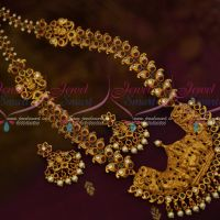 Lord Shiva Parvathi Design Temple Jewellery Semi Precious Stones Haram Latest Traditional Ornaments