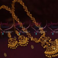 Antique Gold Plated Jewellery Matte Haram Ruby White Stones New Floral Designs Online