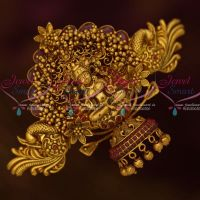 Temple Jewellery Matte Gold Plated Hair Clips Beads Danglers Red Stones Ornaments Online