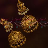 Temple Jewelry Antique Dull Gold White Colour Stones Jhumka Earrings New Traditional Designs Low Price