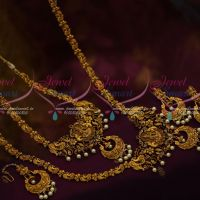 Temple Jewellery Short Long Combo Set Maang Tikka Bridal Traditional Matte Antique Collections Online