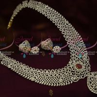 Diamond Jewellery Finish Imitation Haram Broad Two Tone Gold Silver Plated Grand Bridal Ornaments