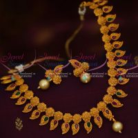 Matte Gold Plated Floral Mango Fashion Necklace Red Green Stones Flexible Designs