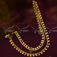 Ruby Emerald Shell Design Gold Plated Covering Anklets Jewellery Imitation Payal
