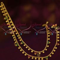 Ruby Emerald Stones Gold Plated Covering Anklets Jewellery Thin Imitation Payal