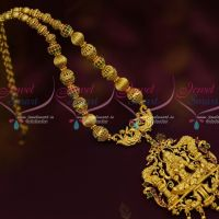 Ruby Green Stones Beads Mala Temple Pendant South Indian Traditional Gold Covering Ornaments Online