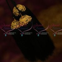 Fancy Enamel Colour Gold Covering Hair Jadai Kunjalam Kuppulu Long 3 Strands Loose Hair Yarn Design Indian Classical Dance and Wedding Jewellery Online