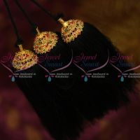 Art Silk Yarn Red Green Stones Hair Kuppulu Jada Kunjalam Traditional Hair Jewellery Shop Online