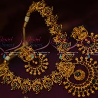 Kemp South Indian Traditional Temple Jewellery Short Necklace Antique Gold Premium Designs Online