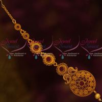 Red Stone Floral Design Antique Matte Jewelry Maang Tikka Designs Low Price Shop Online