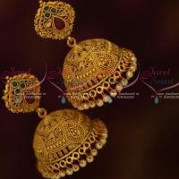 Matte Gold Fashion Jewellery Broad Fancy Jhumka Earrings Red Green Stones Low Price Intricate Work