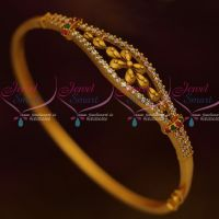 Matte Gold Antique Jewellery Bracelets Thin Clip Open AD Multi Colour Stones Shop Online