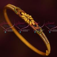 Matte Gold Antique Fashion Jewellery Bracelets Thin Clip Open AD Ruby Emerald Stones Shop Online