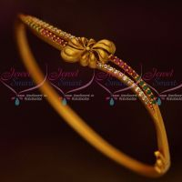 Matte Gold Antique Fashion Jewellery Bracelets Curve Design AD Ruby Emerald Stones Shop Online