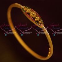 Matte Gold Antique Fashion Jewellery Bracelets Floral Design AD Ruby Emerald Stones Shop Online