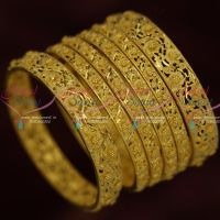 Light Matte One Gram Gold Jewellery Forming Flower Bangles Intricate Design Premium Collections Online