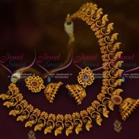 Matte Gold Plated Peacock Fashion Jewellery Necklace Ruby Emerald Stones Half Jhumka