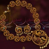 Round Peacock Design Ruby Emerald Jewellery Exclusive Gold Finish Antique Jewellery Shop Online