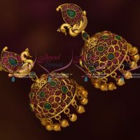Peacock Ruby Emerald AD Jewelry Jhumka Traditional Design Imitation Online