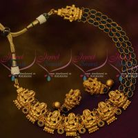 Sapphire Blue Stones Lakshmi God Design Matte Nakshi Nagas South Traditional Temple Jewellery Online