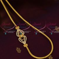 3 MM Gold Plated Jewellery Roll Kodi AD White Mugappu South Indian Designs Online