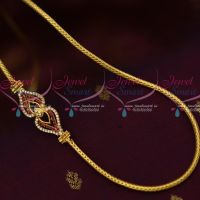 3 MM Gold Plated Jewellery Roll Kodi AD Ruby Mugappu South Indian Designs Online