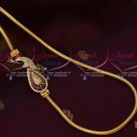 South Indian Imitation Jewellery AD Mugapu Chain Multi Colour Stone 3 MM Roll Kodi Chain