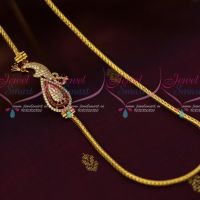 South Indian Imitation Jewellery AD Mugapu Chain Ruby Colour Stone 3 MM Roll Kodi Chain