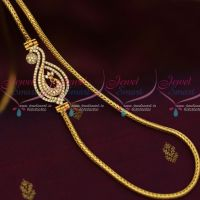 South Indian Fashion Jewellery AD Mogappu Chain White Colour Stone 3 MM Roll Kodi Chain