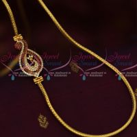 South Indian Fashion Jewellery AD Mogappu Chain Ruby Colour Stone 3 MM Roll Kodi Chain