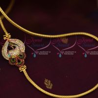 Multi Colour Peacock Side Pendant 3 MM Thick Micron Gold Covering Chain South Indian Jewellery