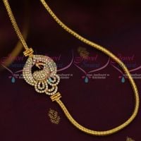 White Colour Peacock Side Pendant 3 MM Thick Micron Gold Covering Chain South Indian Jewellery