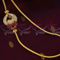 Ruby Colour Peacock Side Pendant 3 MM Thick Micron Gold Covering Chain South Indian Jewellery
