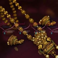 Antique Temple Jewellery Laxmi God Pendant Jhumka Earrings Red Green Stones Online