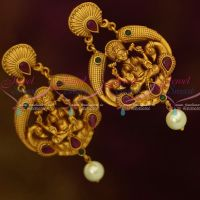 Big Size Temple Jewellery Matte Finish Earrings Ruby Emerald Stones Latest Traditional Designs Online