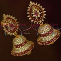 AD Fashion Jewellery Ruby White Colour South Indian Screwback Jhumka Earrings Shop Online
