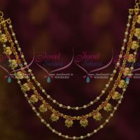 Bahubaali Movie Style AD Stones Ruby Emerald Pearl 3 Layer Hair Chains Latest Fashion Jewellery Online