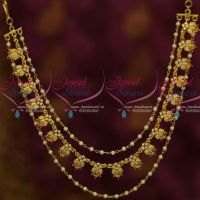Bahubaali Movie Style AD Stones Ruby White Pearl 3 Layer Hair Chains Latest Fashion Jewellery Online